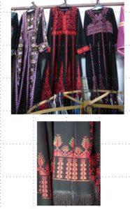 שמלות מוצעות למכירה בשוק ברהט, 2017. רקמת מכונה.